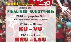 LSKL merginų grupė: didžiajame finale kausis MRU ir LSU